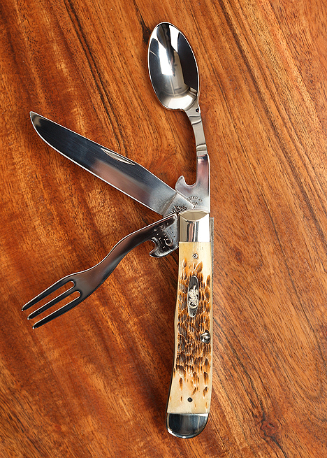 Amber Bone Hobo Knife $140