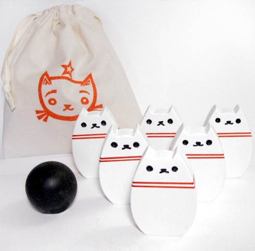 Bowling Kitty Wood Toy Set