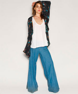 One Teaspoon Harley Chambray Flared-Leg Pants