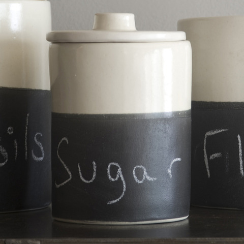 Condiment Jars with Chalk Surface, $48