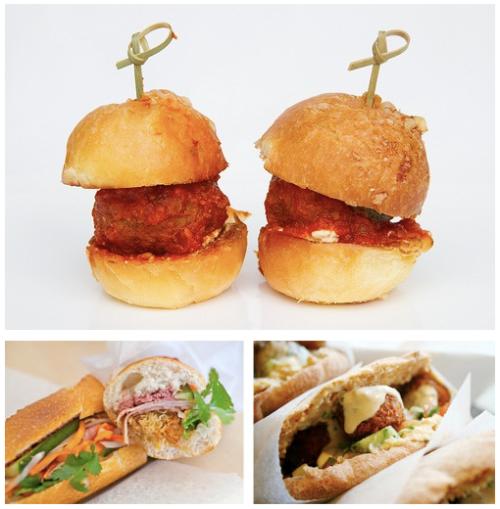 From top, clockwise: Locanda Verde's lamb meatball sliders, Taim's falafel, Banh Mi Zon's banh mi.