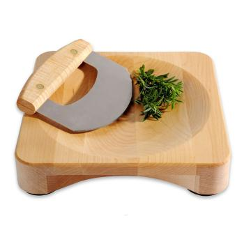 JK Adams Maple Herb Bowl with Mezzaluna Chopper, $72