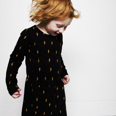 Mini Rodini Lightning Dress Black/Yellow