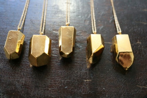 Gold Dipped Crystal Necklace, $135
