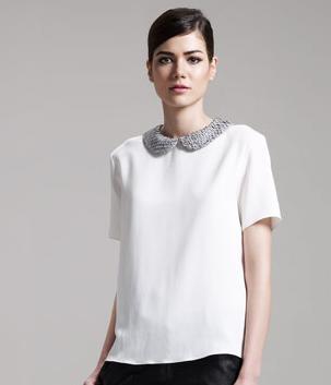 THE ROW Perch-Collar Silk Blouse