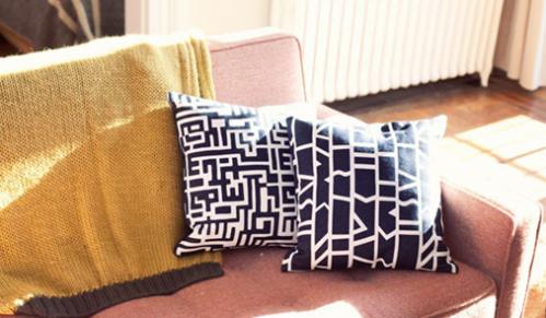 Dusen Dusen Maze and Cutouts Pillows, $50