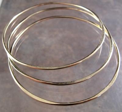 Gold Filled Hammered Bangles
