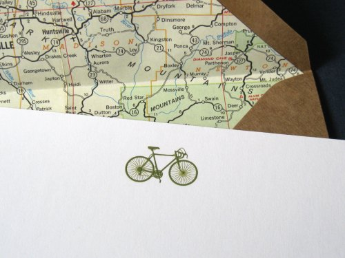 A6 Bicycle w/ Vintage Road Maps
