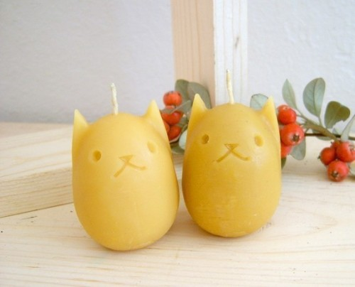 Kitty Egg Beeswax Candles