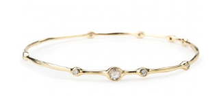 The Six Diamond Squiggle Bangle 18 K Gold w/ six diamonds $2895