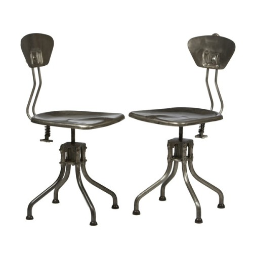 Vintage French Metal Swivel Chairs