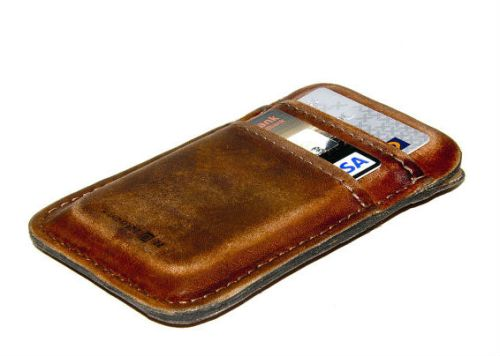 iPhone RETROMODERN Aged Leather Pocket Case